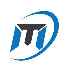 m modern business letter logo design vector image