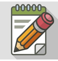 Pencil with notepad vector image vector image