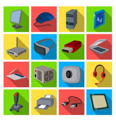 Personal computer accessories set icons in flat vector