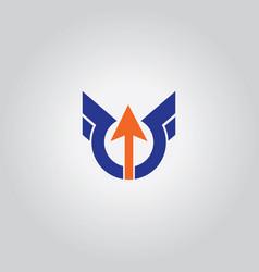 round wing arrow logo vector image vector image