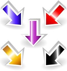 Set of metallic 3d arrows vector image vector image
