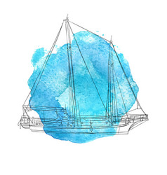 ship at blue watercolor background vector image