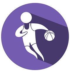 Sport icon for basketball on purple badge vector image