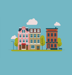 Town street with house facades trees and other vector