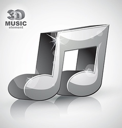 Trendy metallic musical note 3d modern style icon vector
