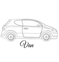 Van car body type outline vector