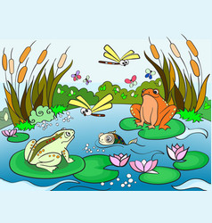 Wetland landscape with animals for adults vector