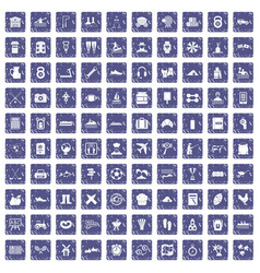 100 activity icons set grunge sapphire vector