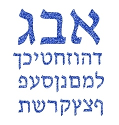Blue alphabet hebrew hebrew font vector