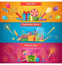 Pyrotechnics festival flat banners vector