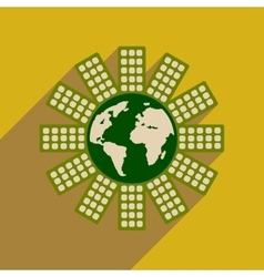 Flat web icon with long shadow earth house vector