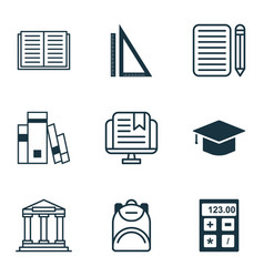 Set of 9 school icons includes library opened vector