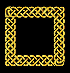 Square golden celtic knots frame vector