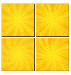 Set of comics rays background with halftones vector