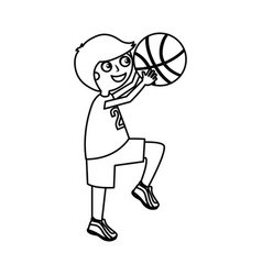 little boy playing basketball vector image