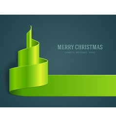 Christmas green tree from ribbon vector image