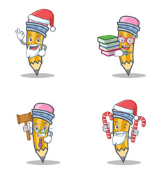 set of pencil character with santa candy book vector image