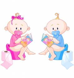Babies potty training vector