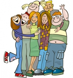 School teens group giving hug vector