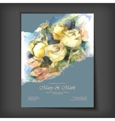 Watercolor roses wedding invitation vector