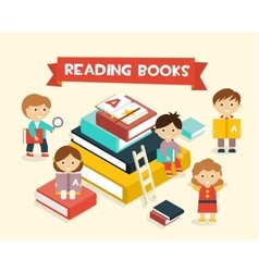 Featuring kids reading books vector