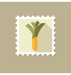 Leek flat stamp with long shadow vector