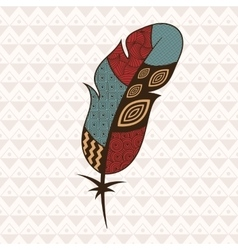 Patterned colorful feather vector