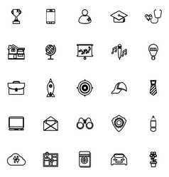 Job description line icons on white background vector