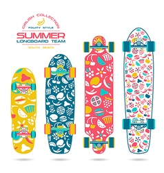 Fruit print on a longboard and skateboard vector