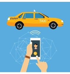 call taxi cab from mobile phone application online vector image