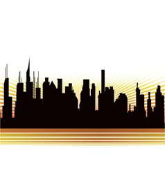 city with rays vector image