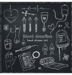 Donor blood donation sketch decorative icons set vector