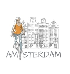 Woman and amsterdam sketch vector