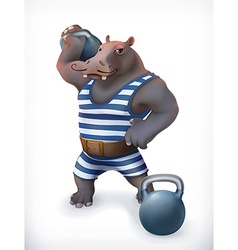 Hippo circus athlete funny character mesh vector