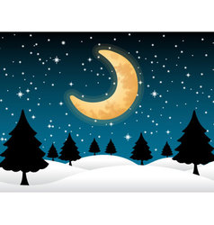 Background moon and stars night christmas vector