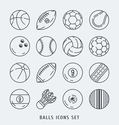 Balls icons set black and white vector
