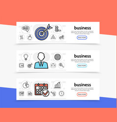 Business elements horizontal banners vector