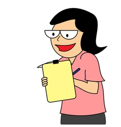 Business woman conducting a survey vector image