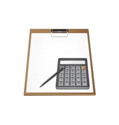 Calculator with pen on paper vector image vector image