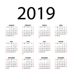 Calendar for 2019 vector