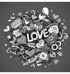 Cartoon hand drawn doodle love vector