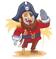 cartoon of pirate salute vector image vector image