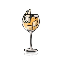 Cocktail with pear sketch for your design vector image vector image