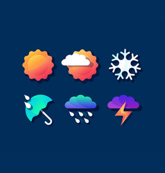 color set of bright weather icons vector image vector image