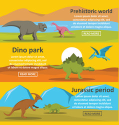 Dinosaur park banner horizontal set flat style vector