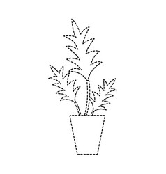 dotted shape nature plant with leaves inside vector image vector image