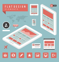 Flat devices and icons infographic design el vector image