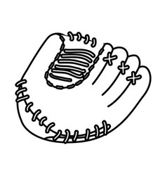 Monochrome contour of baseball glove vector