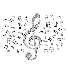 Musical clef with notes vector image vector image