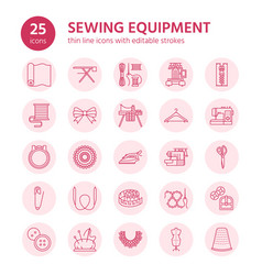 sewing equipment tailor supplies flat line icons vector image vector image